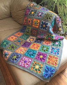 Crochet afghan, grey blanket, kaleidoscope granny square 44 x grey border, MADE TO ORDERWoven-square scrap afghan, byClick above VISIT link for more detailsNew version of this granny squares blanket completed. It will be available in my etsy store la Granny Square Crochet Pattern, Afghan Crochet Patterns, Crochet Squares, Crochet Granny, Crochet Motif, Crochet Designs, Crochet Baby, Knitting Patterns, Free Knitting