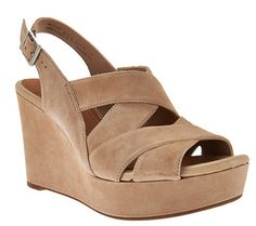 Bona fide beauty. Amelia Alice suede wedge sandals from Clarks Artisan are sure to attract a following. The contemporary crisscross style is complemented by a comfy, padded insole and outsole textured for traction. From Clarks Footwear. QVC.com