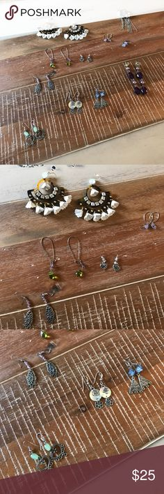Earring lot amazing value! 11 pairs of dangerous earrings from various brands and some homemade. The largest ones are J. Crew. They are missing one gold stud (pictured). Small shell with floral charms are Lia Sophia. J. Crew Jewelry Earrings