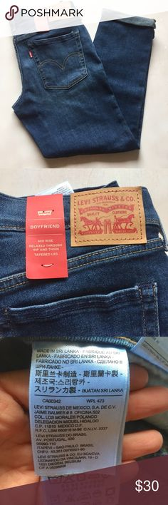 Levi's boyfriend jeans denim size 27 Levi's boyfriend jeans denim size 27 (new) home in the knee mid rise relaxed through hip and thigh tapered leg Levi's Jeans Boyfriend