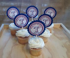 15 Personalized Baseball Sports Cupcake Topper by susanefird