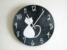 Cat Wall Clock - Chalkboard Print