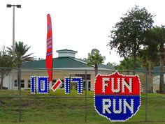 Durbin Creek Elem. in Saint Johns, FL creatively displays the date of the Boosterthon Fun Run!