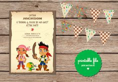 jake and the neverland pirate Birthday Invitation. Printable on Etsy, $5.00