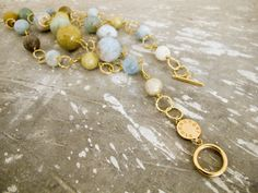 Stoneangel necklace. Gold plated silver and aquamarine