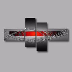 tableau abstrait gris metal rouge