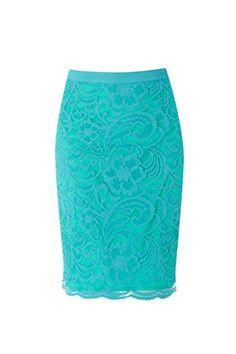 aqua lace pencil skirt cute for Easter