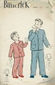 An original ca. 1945 Butterick Pattern 3307.  Boys' Two-piece Pajamas:  Trimly tailored two-piece pajamas:  single-breasted coat style top can be made with or without a collar.  View C - collarless middy top.  Note the patch pocket.