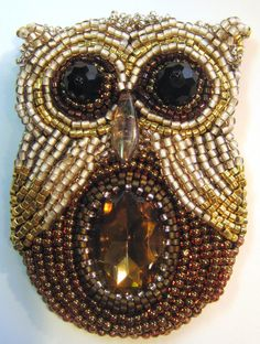 """""""It's a Hoot!"""" beaded by Sharon A. Kyser"""