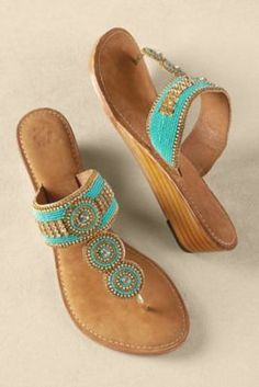 Palm Beach Sandals - Wedge Sandals, Beaded Wedge Sandals, Jeweled Sandals, Rhinestone Sandals | Soft Surroundings