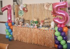 Moana party decorations - Cake table, grass skirt, balloon towers, paper flowers Moana Party Decorations, Balloon Tower, Grass Skirt, Cake Table, Towers, Paper Flowers, Cake Decorating, Balloons, Birthday Cake