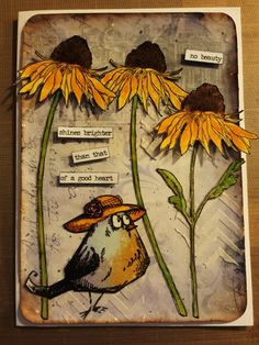 Thank you card using Tim Holtz Crazy Birds, Flower Garden stamps and Chitchat stickers Crazy Bird, Crazy Dog, Crazy Cats, Crazy Animals, Jungle Animals, Tim Holtz Stamps, Atc Cards, Bird Crafts, Animal Cards