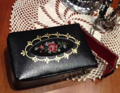Unique 1970s vintage leather cigarette case with embroidery decoration by vintageteddy on Etsy