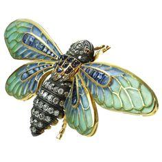 Antique Diamond Sapphire Plique-a-Jour Enamel Bumble Bee Brooch  France  Edwardian