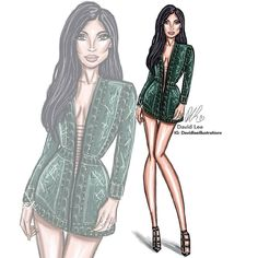"""""""Balmain Babe X Kylie Jenner illustration!  @kyliejenner repost and tag her below! #kyliejenner #kuwtk #art #fashionillustration #balmain #oliverrousteing…"""""""