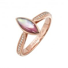 Kabana - Pink Mother of Pearl  Diamond Ring in 14k Rose Gold (.12 ctw)