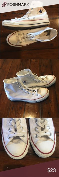 Converse Chuck Taylor White High Top SZ 6.5 The classic white Hightop by converse!! A staple for every closet, just a little too small for me ☹️. Great condition, worn 3 times. Converse Shoes Sneakers