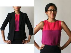 Neon Color block chiffon blouse with button up back by SevenBlooms, 60.00