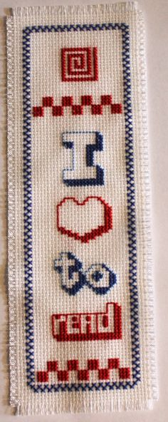 I love to read - in red, white and blue. Cross stitch bookmark. on Etsy, $12.50