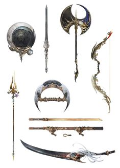 View an image titled 'Tsukuyomi Arms Concept Art' in our Final Fantasy XIV: Stormblood art gallery featuring official character designs, concept art, and promo pictures. Final Fantasy Weapons, Fantasy Sword, Final Fantasy Art, Ninja Weapons, Anime Weapons, Weapon Concept Art, Armor Concept, Arte Assassins Creed, Different Drawing Styles