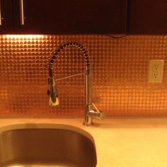 Look! A Real Penny Tile Backsplash: I wonder if it is actually cheaper than buying actual tile. Penny Backsplash, Kitchen Backsplash, Penny Wall, Copper Penny, Beautiful Kitchens, Dream Kitchens, Faucet, Home Improvement, Tile