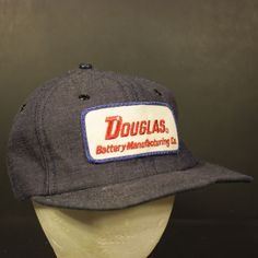 b58cea3eb7f Vintage Patch Trucker Hat Cap Snapback Denim Retro Douglas Battery  Manufacturing