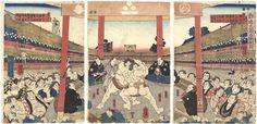 Sumo Wrestling by Yoshitora /  勧進大角力取組図 芳虎