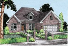 House Plan 68236 | European   Traditional    Plan with 1897 Sq. Ft., 3 Bedrooms, 3 Bathrooms, 2 Car Garage