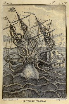 Giant Kraken Octopus Art Print or Poster  por AdamsAleArtPrints