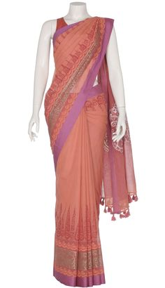 Coral Printed and Appliquéd Cotton Saree