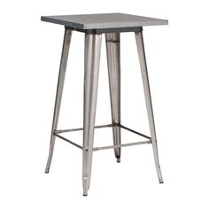 Design Lab MN - Dreux Steel Bar Table, Dark Gunmetal - Indoor Pub and Bistro Tables Wood Steel, Steel Bar, Wood And Metal, Wood Bar Table, Industrial Bar Stools, Rustic Industrial, High Top Tables, Thing 1, Dining Table In Kitchen
