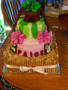 Luau themed sweet 16 birthday with fondant accents, sugar (brown and white) sand, white chocolate seashells and Pirouette cookies. the keys to her new car were in the tiki hut on top