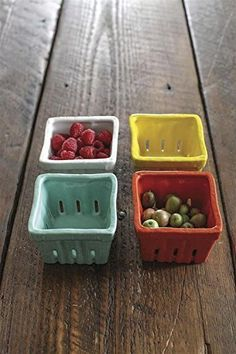 Creative Co-op Stoneware Berry Baskets, Multicolor, Set of Modeled after the iconic farm stand berry containers, these ceramic baskets come in a colorful set of four for a vibrant presentation. Microwave and dishwasher safe. Southern Kitchens, Cottage Kitchens, Berry Baskets, Creative Co Op, Farmhouse Chic, Antique Farmhouse, Farmhouse Ideas, House Colors, Painting On Wood