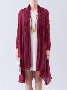 Wine Red Plain Pockets Long Sleeve Linen Cardigan, $242 yikes! @stylewe.com, 9/22/16