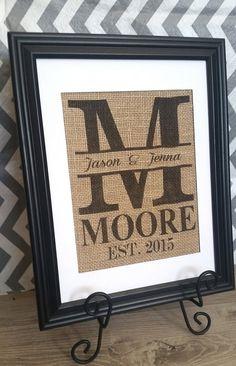 Personalized Wedding Gift -Custom Burlap Monogram Wedding Sign, Wedding, Anniversary Print- Family Name Sign with Established Date