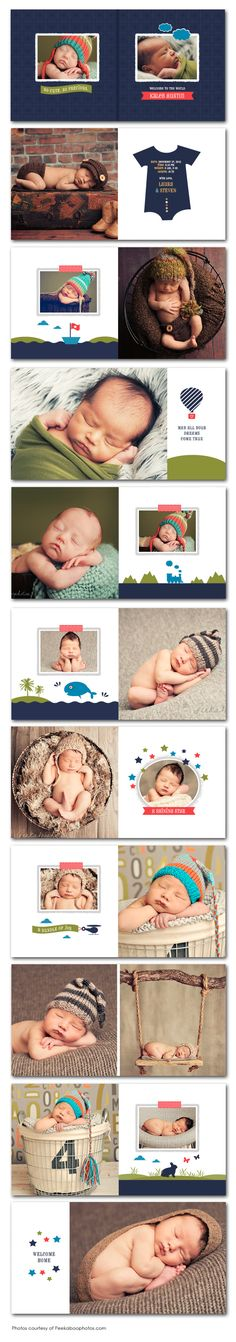 Nice use of graphics without going overboard. Kids Photo Album, Baby Photo Books, Book Photography, Newborn Photography, Book Labels, Wedding Album Design, Baby Posters, Photo Album Scrapbooking, Baby Album