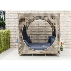 Bungalow Rose Brennon Cube Patio Daybed with Cushions Patio Loveseat, Patio Chairs, Circular Patio, Daybed With Trundle, New Home Designs, Outdoor Furniture, Outdoor Decor, Outdoor Sofas
