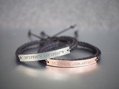 Custom Coordinates Bracelets, Matching Couple Bracelets, His and Hers, Location Engraved Bracelet, Slim Bar, Dark Brown Braided Bracelet by TimArtCreations on Etsy https://www.etsy.com/listing/287123009/custom-coordinates-bracelets-matching