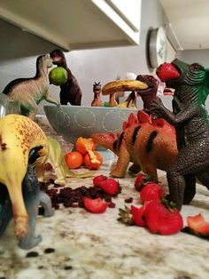 """Refe Tuma and his wife have a very special set of pranks that they pull on their daughters every November - DINOSAUR PRANKS. In a move they call """"Dinovember,"""" their daughters' plastic toys """"come to life"""" every night and wreak havoc on the Tume household.   - https://www.facebook.com/dinovember"""