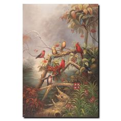 'Birds' by Joval Painting Print on Canvas
