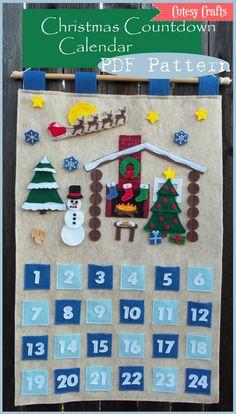 Build A Scene - Felt Christmas Countdown Calendar Pattern