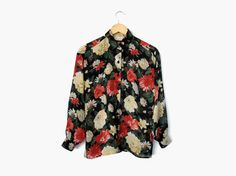 90s Sheer Floral Button Up Shirt / Black Patterned Blouse    Vintage c. 1990s    90s / oversized / button up / collared shirt / grunge style / hipster fashion
