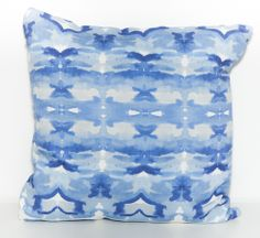 Indigo and white Totem Pillows by Elise Flashman
