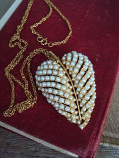 Vintage long Necklace Large Leaf Pendant by primitivepincushion, $29.99