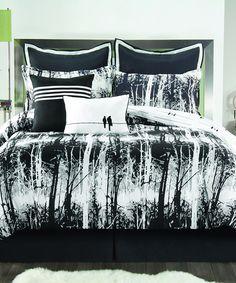 Black & White Woodland Comforter Set | zulily