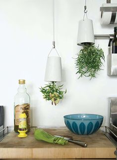 Hanging herbs - Use buckets with handles make med. hole in bottom for herb to hang