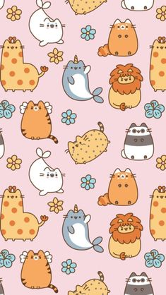 ^ How many disguises does Pusheen wear here? I see Pusheen giraffe, Pusheen narwhal, but what else do you see here? Have fun choosing and drawing your favorites. Cat Wallpaper, Kawaii Wallpaper, Aesthetic Iphone Wallpaper, Animal Wallpaper, Pattern Wallpaper, Kawaii Doodles, Kawaii Art, Kawaii Drawings, Cute Drawings