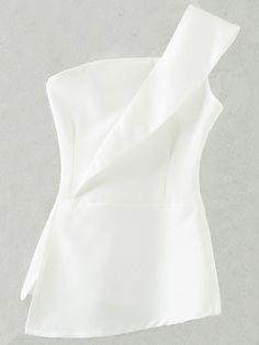 White Zipper Bandeau One Shoulder Top -SheIn(Sheinside) Off One Shoulder Tops, Shoulder Shirts, Bandeau Top, Mode Top, Vetement Fashion, Simple Dresses, Fall Dresses, Long Dresses, Feminine Fashion