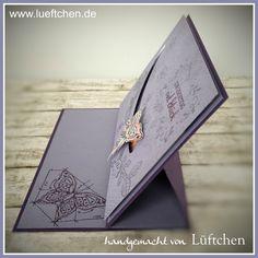 Lüftchen Stempelstudio Bergedorf, spinner Card, Kullerkarte, Schmetterling, lila, Vogelhochzeit, Schlüssel zum Glück, Stampin Up!