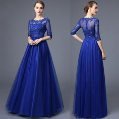 Half Sleeves Royal Blue Lace Evening Prom Dresses,High Neck Empire Waist Long Prom Dresses,Custom Made Mother of the Bride Dress Evening Gowns sold by Dresscomeon on Storenvy Off Shoulder Bridesmaid Dress, Coral Bridesmaid Dresses, Prom Dresses Blue, Dress Prom, Modest Dresses, Long Dresses, Party Dresses With Sleeves, Lace Party Dresses, Lace Dress